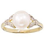 Bague classique or 10 ct avec perle blanche de culture et diamants blancs 0,07 ct I 2-3 - Taille 7