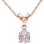 Classic 10K Rose Gold Chain with 0.05ctw I2-I3 Diamond & Pink Round Morganite Pendant Necklace