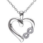 0.05ctw Diamond Infinity Heart Pendant Necklace in Sterling Silver