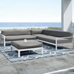 Contemporary 4-Piece Deep Seating Patio Sectional Lounger Set - White/Dark Grey