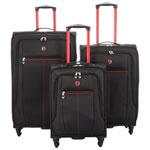 Swiss Gear Souvenir II 3-Piece Soft Side 4-Wheeled Expandable Luggage Set - Black/Red