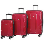 IT Luggage Transformer 3-Piece Hard Side 8-Wheeled Expandable Luggage Set - Red