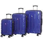 IT Luggage Transformer 3-Piece Hard Side 8-Wheeled Expandable Luggage Set - Blue