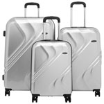 Samsonite Plymouth DLX 3-Piece Hard Side 4-Wheeled Luggage Set - Silver