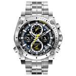 Bulova Precisionist 46mm Men's Analog Dress Watch with Chronograph - Silver / White