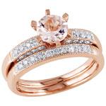 Bridal Ring Set in 10K Rose Gold with Pink Round Morganite & 0.34ctw Diamonds - Size 6