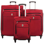 DELSEY Cannes 3-Piece Soft Side 4-Wheeled Expandable Luggage Set - Red