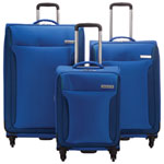 WestJet Feather Lite 2.0 3-Piece Soft Side 4-Wheeled Expandable Luggage Set - Blue