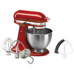 Batteur sur socle Ultra Power de 4,5 pte/300 W + fouet Flex Edge de KitchenAid - Rouge empire