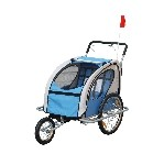 Aosom 2-in-1 Double Baby Bike Trailer Stroller Jogger Blue