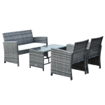 Outsunny 4pcs Rattan Sofa Set Patio Wicker Furniture Garden Lawn Chair with Table & Cushion