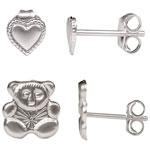 Classic Sterling Silver Heart Stud Earring & Teddy Bear Stud Earring Set