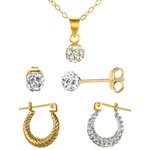 Statement Crystal Pendant Necklace, Stud & Hoop Earrings Set