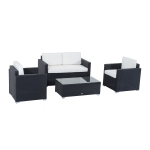 Outsunny 4pcs Rattan Wicker Sofa Set Patio PE Outdoor Furniture Garden with Cushion