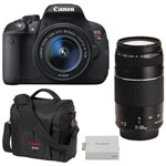Canon EOS Rebel T5i DSLR Camera with 18-55mm/75-300mm Lenses, Battery & Camera Bag