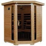 Sauna infrarouge 3 personnes en pruche avec éléments chauffants en carbone de Radiant Saunas - Angle