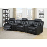 Broadway 3-Seat Bonded Leather Power Recliner Home Theatre Seating with Console - Black