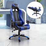 HOMCOM Gaming Racing Office Chair with Waist Neck Cushions Blue
