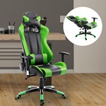 HOMCOM Gaming Racing Office Chair with Waist Neck Cushions Green