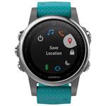 Montre GPS multisport 42 mm fenix 5S de Garmin/moniteur de fréquence cardiaque - Argenté - Turquoise