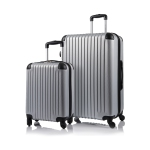 CHAMPS Luggage Tourist Collection 2-Piece Hard Side 4-Wheeled Expandable Luggage Set - Silver