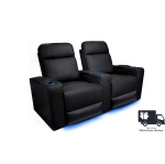 Valencia Piacenza Premium Top Grain 9000 Leather Black Power Recliner LED Lighting Home Theater Seating 2-Seat
