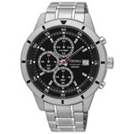 Seiko 44mm Men's Analog Dress Watch with Chronograph - Silver