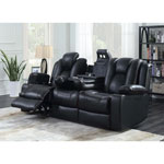 Starship 3-Seat Leather Power Recliner Home Theatre Seating with Console - Black