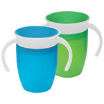 Munchkin Miracle 360-Degree 7 oz. Trainer Cup - 2 Pack - Blue/Green