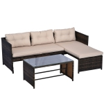 Outsunny 3pcs Outdoor Rattan Wicker Sofa and Chaise Lounge Set with Cushion Garden Patio Furniture