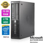HP Z220 Workstation Desktop, Intel Xeon, 16GB RAM, 2TB HDD, Nvidia NVS 310 Graphics, Windows 10 Pro - Refurbished