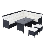 Outsunny 6pcs Rattan Sofa Set with Dining Table and Cushion Black