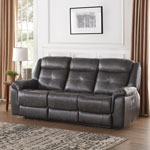 Justin Contemporary Leather Power Recliner Sofa - Charcoal