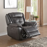 Justin Contemporary Leather Power Recliner Chair - Charcoal