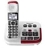 Téléphone amplifié sans fil 1,9 GHz à 1 combiné de Panasonic avec répondeur (KXTGM470W) - Blanc