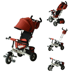 Qaba 4 in 1 Baby Tricycle Stroller Kids Trike with Pushbar and Canopy Toddler Ride On Red