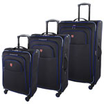 SWISSGEAR Souvenir IV 3-Piece Soft Side Expandable Luggage Set - Black/Blue