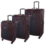 SWISSGEAR Souvenir IV 3-Piece Soft Side Expandable Luggage Set - Black/Red