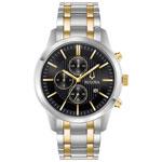 Bulova 43mm Men's Chronograph Analog Dress Watch - Silver/Gold/Black