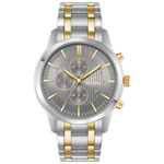 Bulova 43mm Men's Chronograph Analog Dress Watch - Silver/Gold/Grey