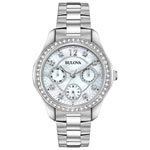Bulova Multifunction 36mm Women's Analog Dress Watch - Silver/Mother of Pearl