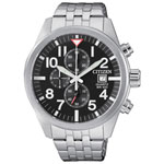 Citizen 43mm Men's Analog Casual Watch with Chronograph - Silver/Black/White