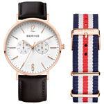 BERING Classic 40mm Men's Analog Casual Watch with Leather & Nylon Bands - Black/ Blue/Red/Silver