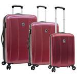 Ensemble de 3 valises rigides extensibles à 4 roulettes Timor de Delsey - Rouge