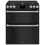 "GE Cafe 30"" 6.7 Cu. Ft. True Convection 6-Burner Slide-In Gas Range (CCGS995EELDS) - Black Slate"
