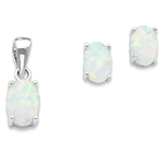 IceCarats 925 Sterling Silver Created Opal Pendant Charm Necklace Post Stud Earrings Set Fancy