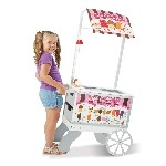Melissa & Doug 9350 Wooden Snacks and Sweets Food Cart - 40+ Play Food pcs, Reversible Awning