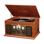 Victrola 6-in-1 Belt Drive USB Bluetooth Turntable CD Player with Accessory Kit - Only at Best Buy