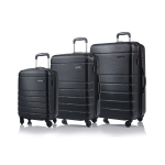 CHAMPS Luggage Journey Collection 3-Piece Hard Side 4-Wheeled Expandable Luggage Set - Black