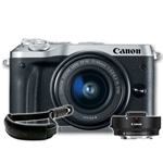 Canon EOS M6 Mirrorless with 15-45mm Lens Silver